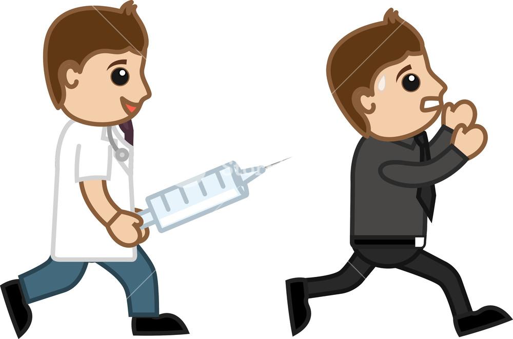 Running Away From Syringe Injection - Doctor & Medical Character Concept