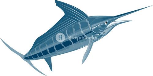 Sailfish Fish Coming Up Retro