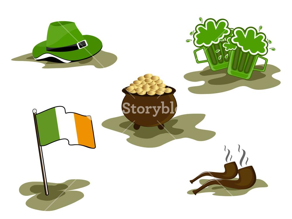 Saint Patrick's Day Symbols Vector Set Isolated On White.