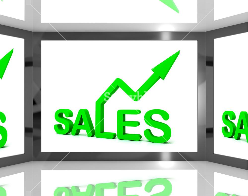 Sales On Screen Showing Monetary Profits