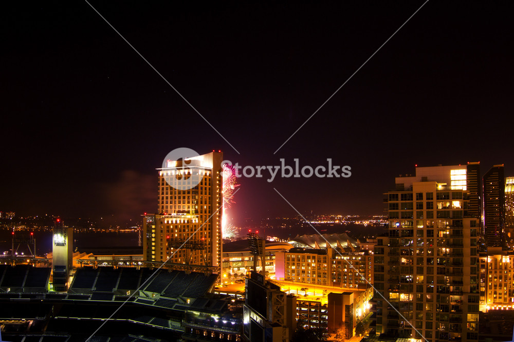 San Diego City Buildings At Night