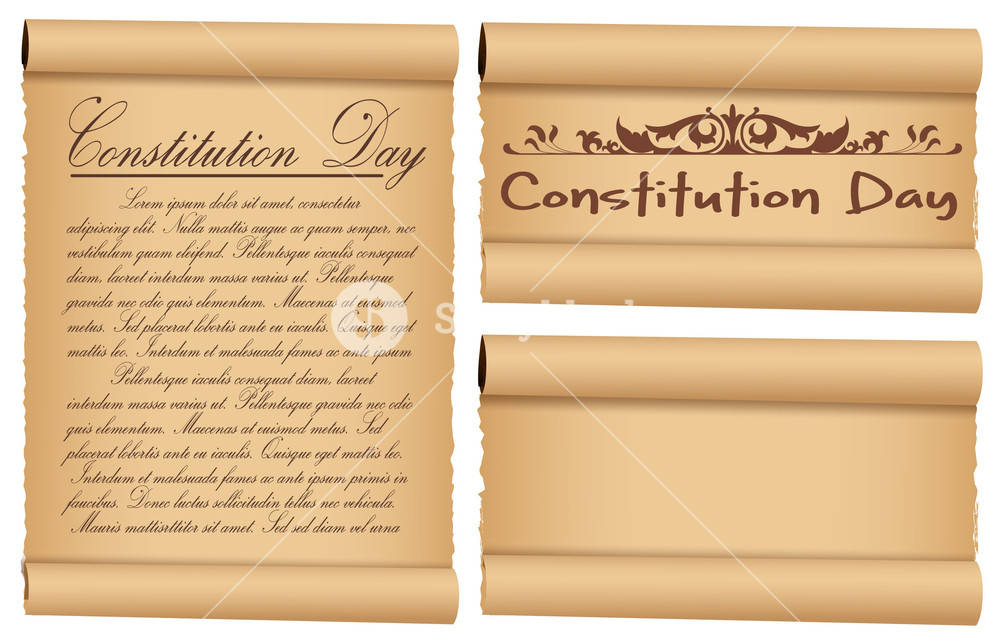Scroll Banner Designs For  Constitution Day Vector Illustration