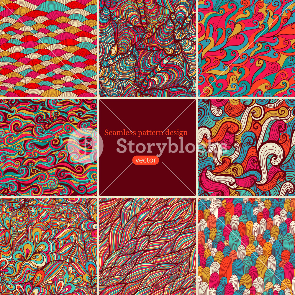 Set Of Eight Colorful Wave Patterns (seamlessly Tiling).seamless Pattern Can Be Used For Wallpaper