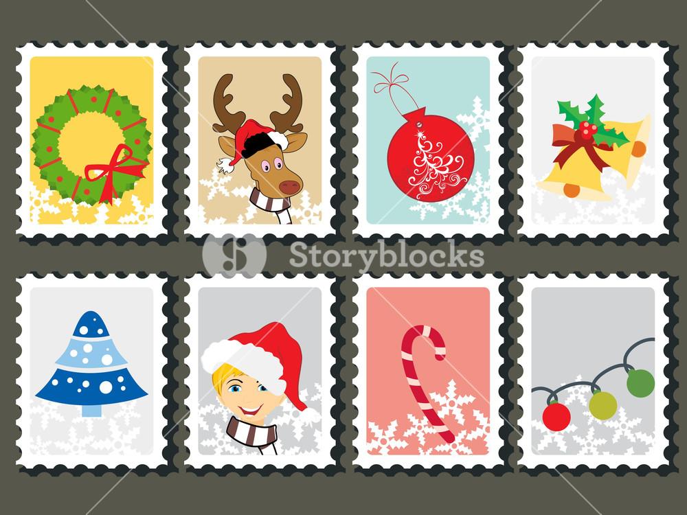 Set Of Merry Xmas Stamp