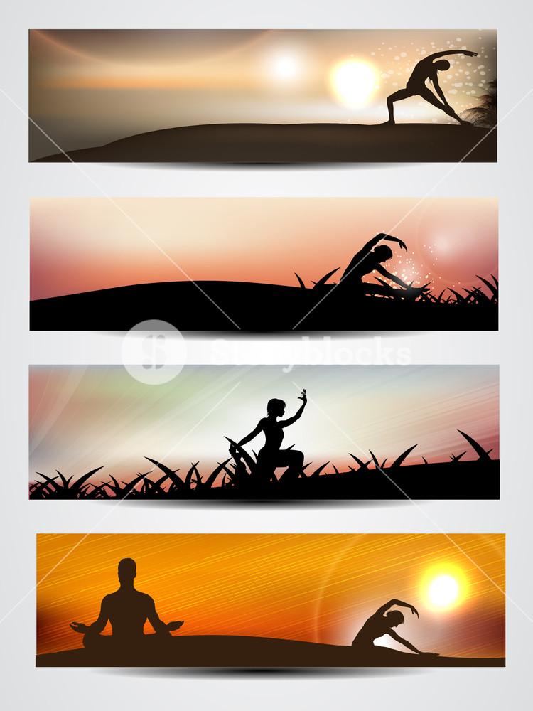 Set Of Website Banner Or Header Of Yoga Or Meditation 10
