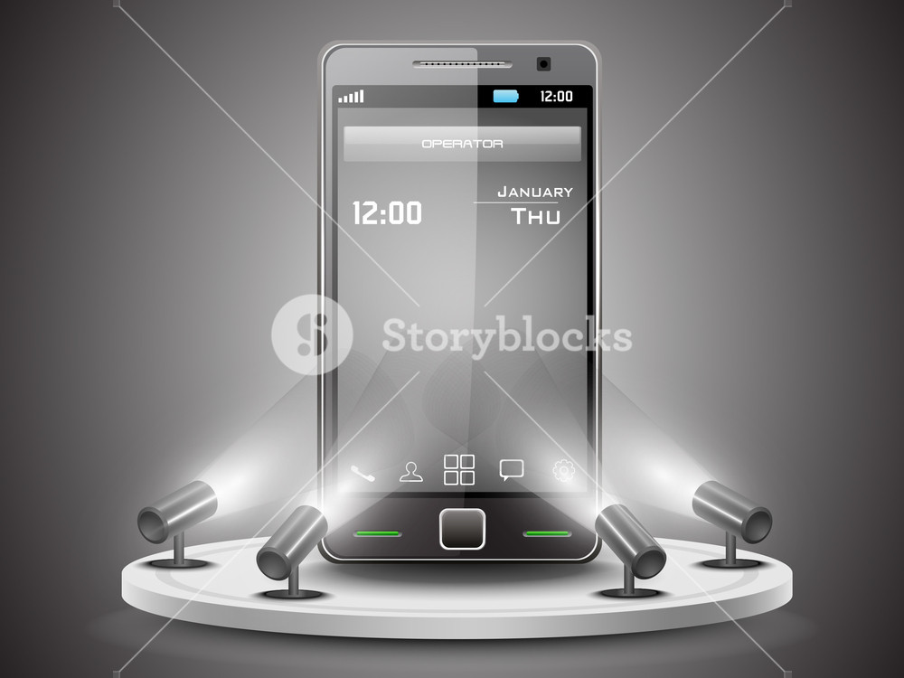 Shining Smartphone  Presentation On Stand Banner Or Template Design 10