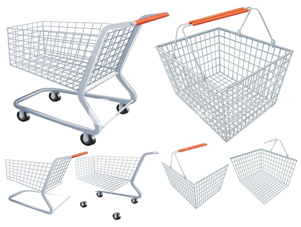Shopping Cart And Basket. Vector.
