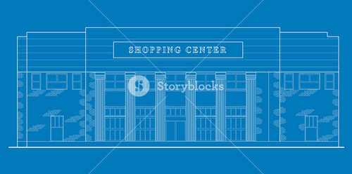 Shopping Center Building Front Blue Print