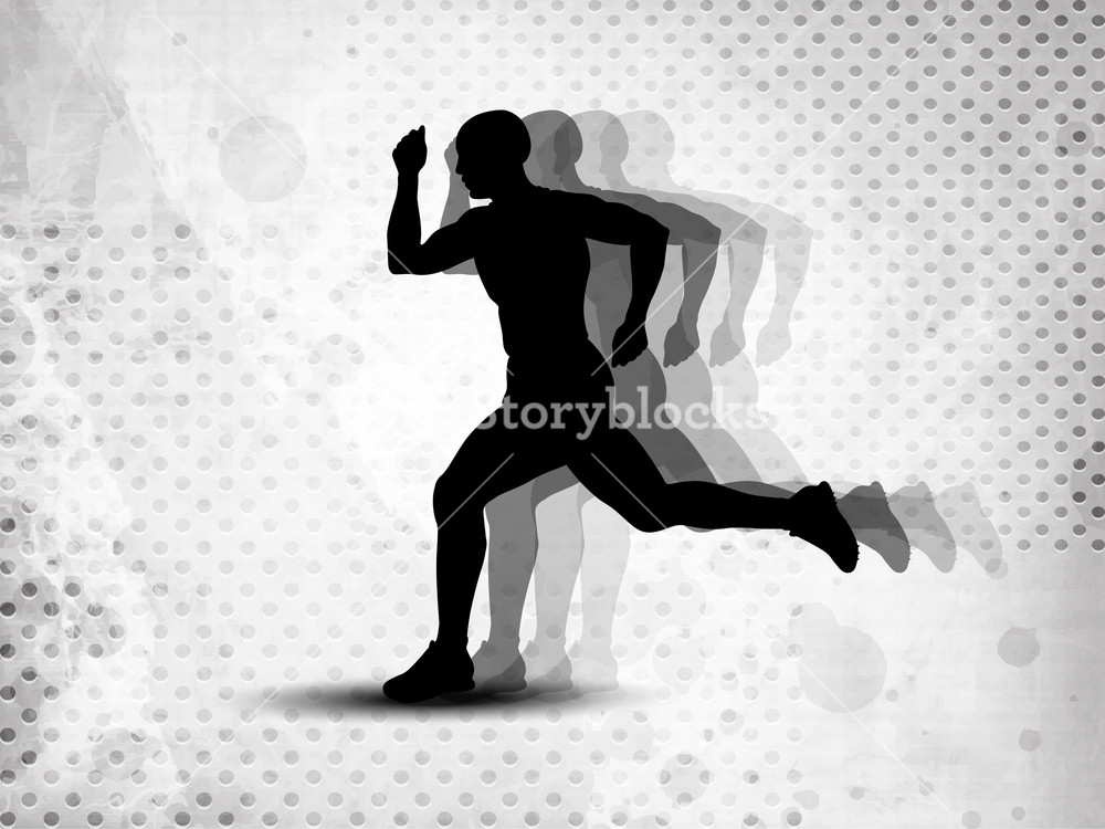 Silhouette Of A Man Athlete Running On Grungy Grey Abstract Background.