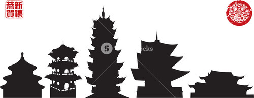 Silhouettes Of Chinese Temples