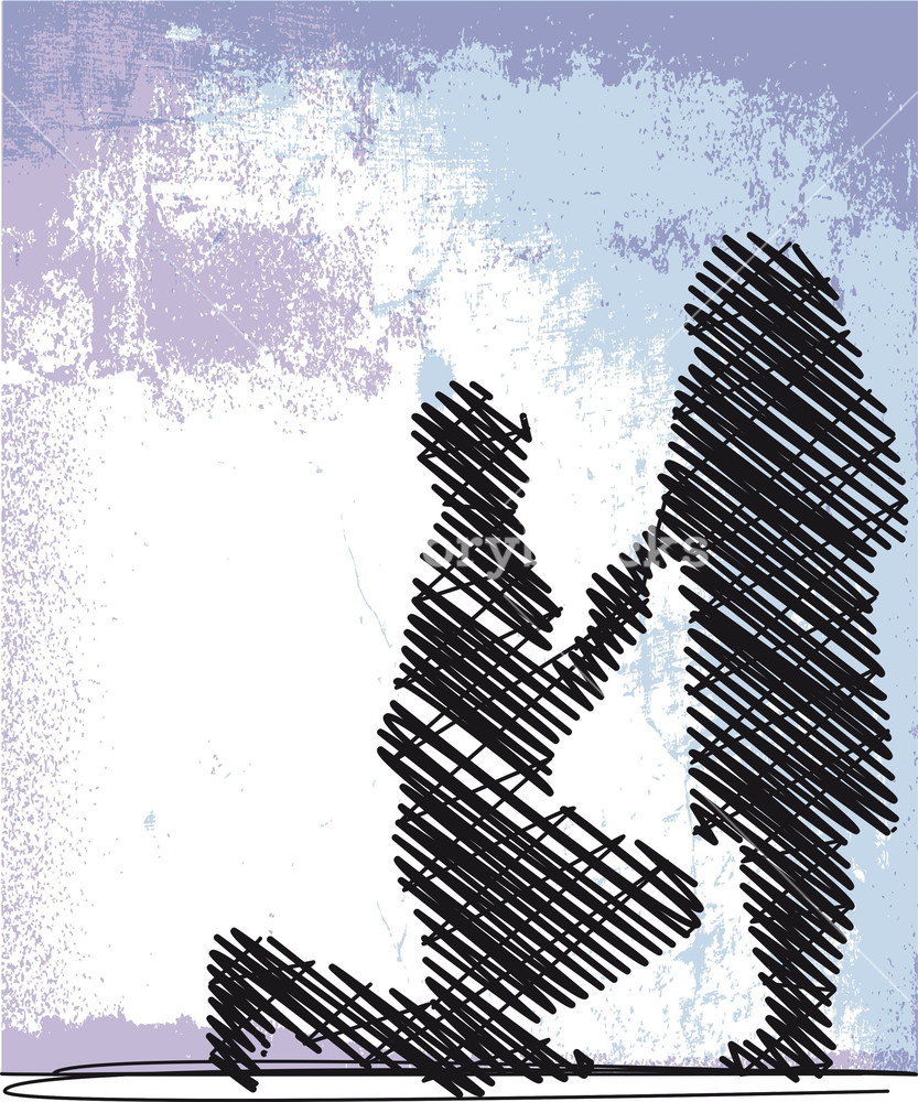 Sketch Of Man Proposing To A Woman While Standing On One Knee. Vector Illustration
