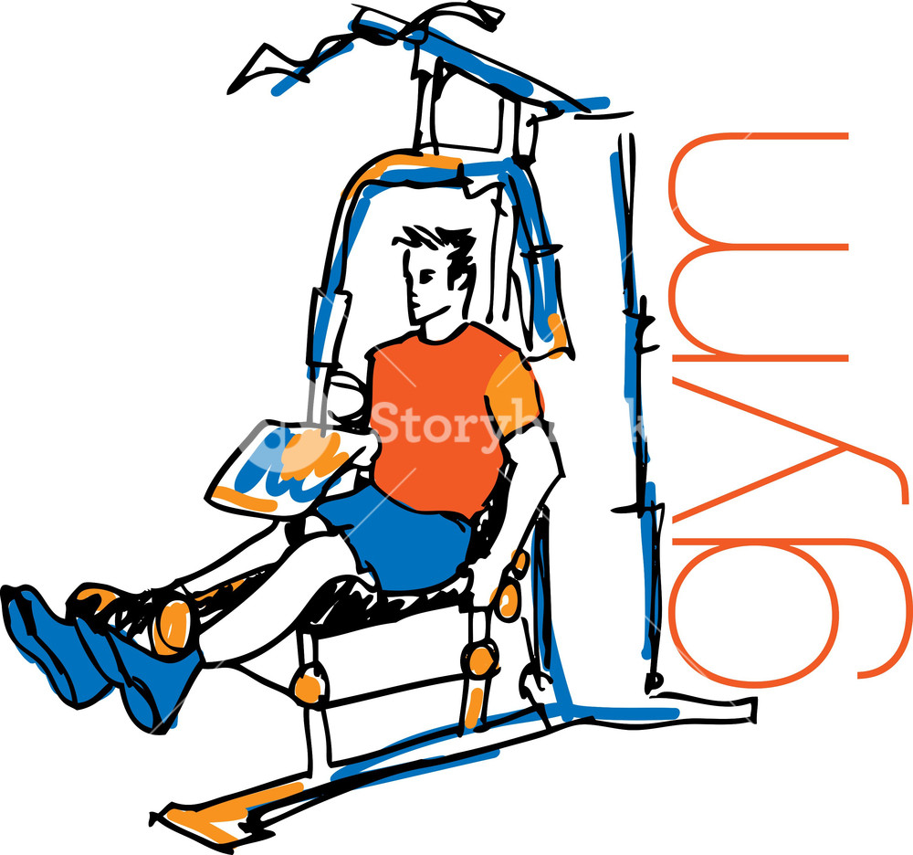 Sketch Of Man Using Pulldown Machine In Gym. Vector Illustration