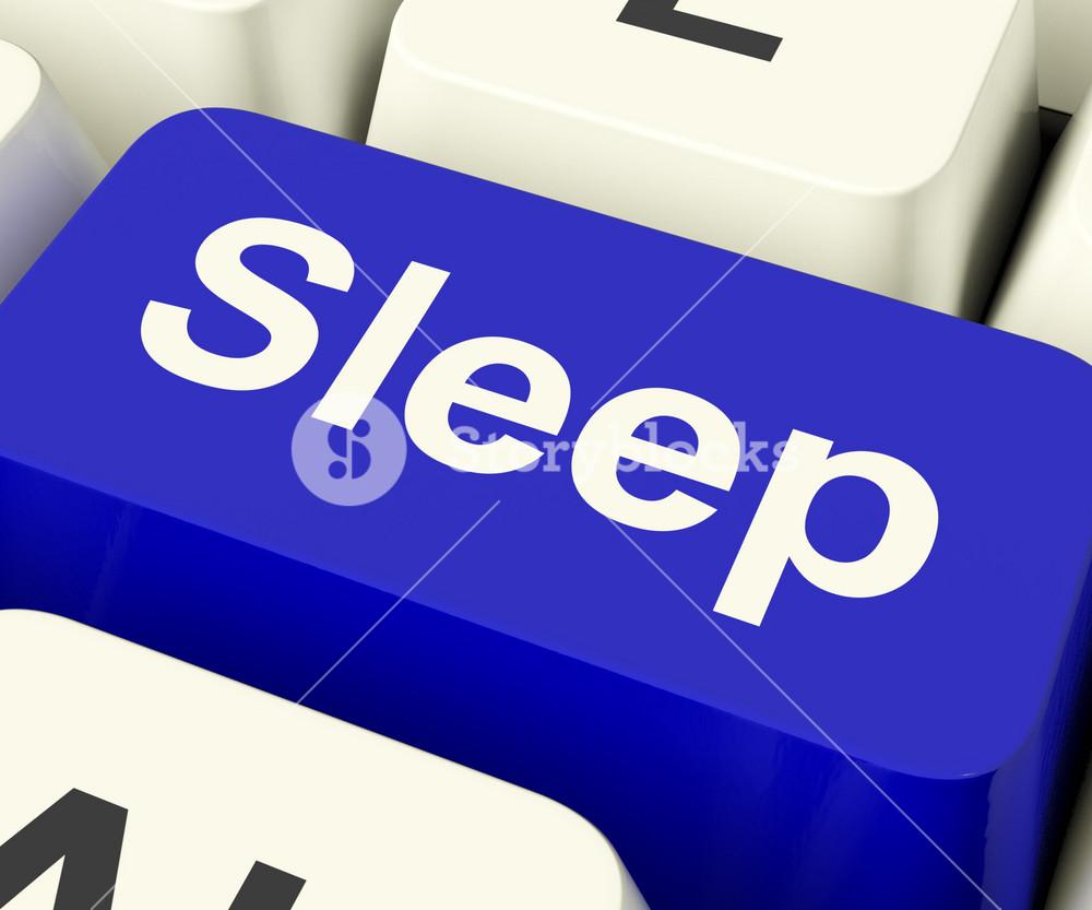 Sleep Computer Key Showing Insomnia Or Sleeping Disorders Online
