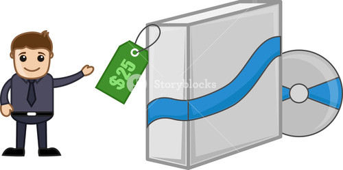 Software Box Shopping - Cartoon Vector