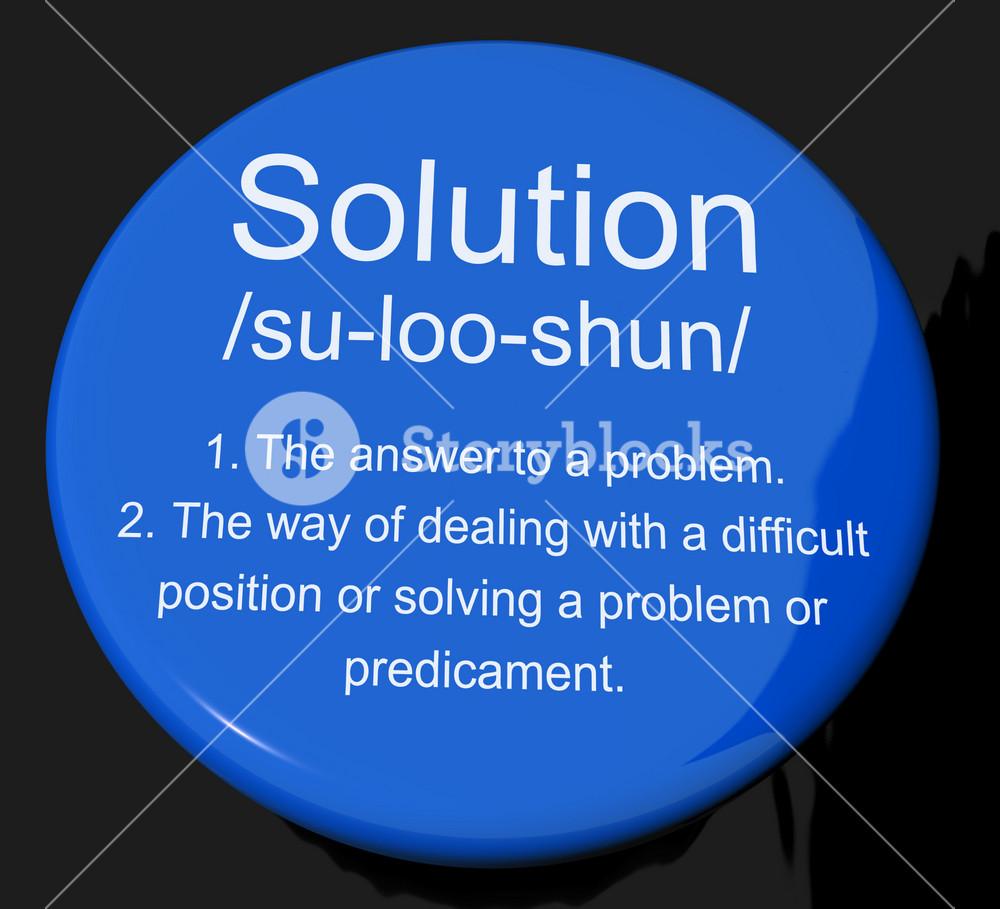 Solution Definition Button Showing Achievement Vision And Success