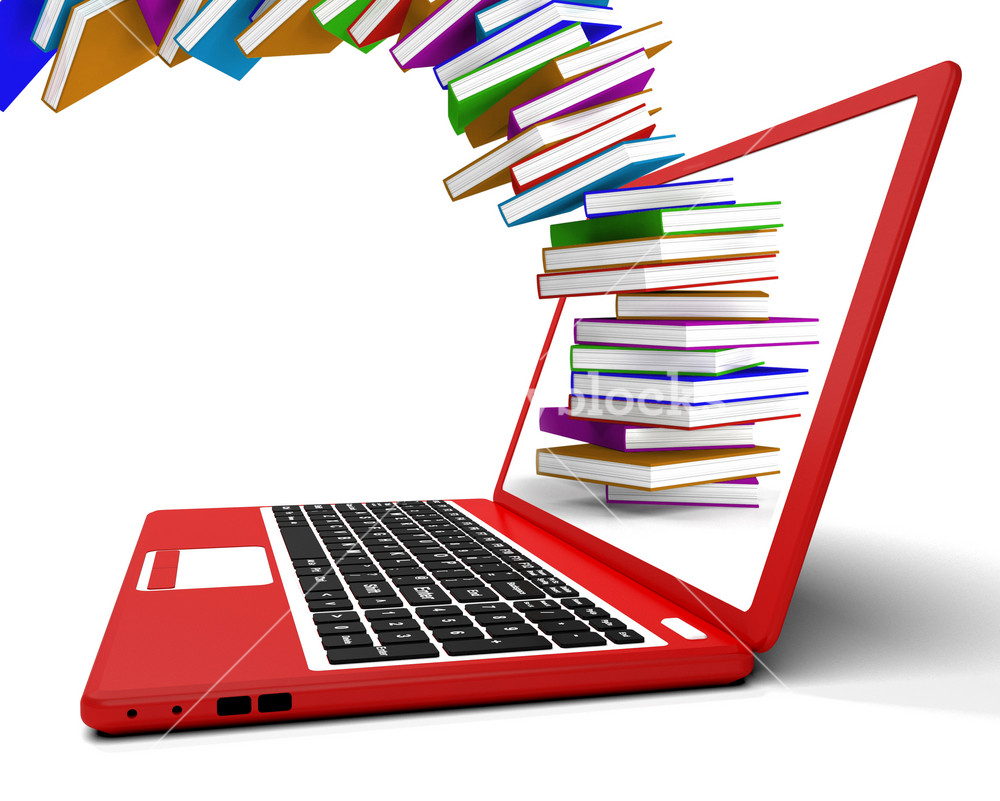 Stack Of Books Flying From Computer Shows Online Learning Royalty Free Stock Image Storyblocks