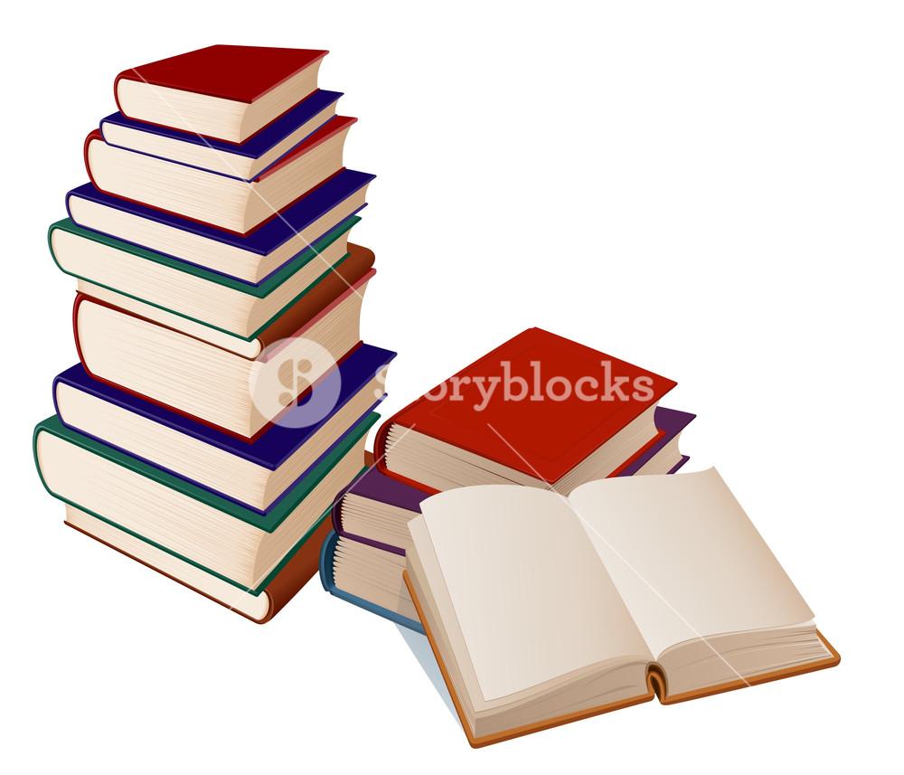 Stack Of Books On White Background. Vector Illustration.