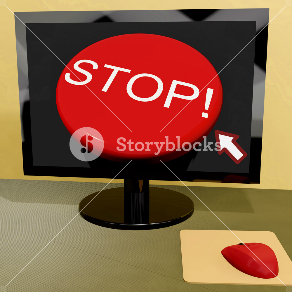 Stop Button On Computer Shows Denial Or Disapproval