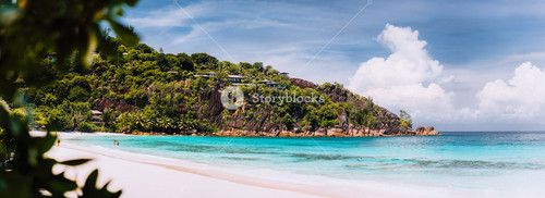 Amazing Petite Anse beach. Vacation holidays honeymoon at the luxury resort island Mahe Seychelles, travel summertime relaxation concept.