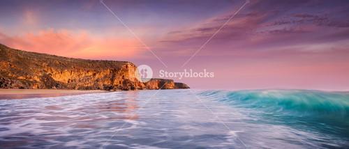 Beautiful surf beach at sunset