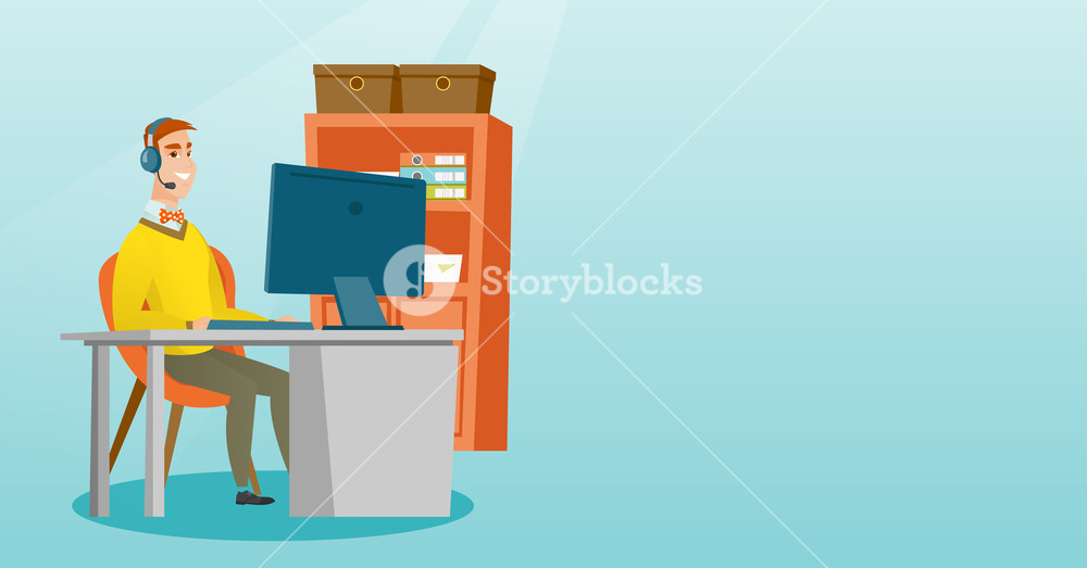 Business man during video conference in the office. Businessman with headset working on a computer in the office. Call center operator at work. Vector flat design illustration. Horizontal layout.