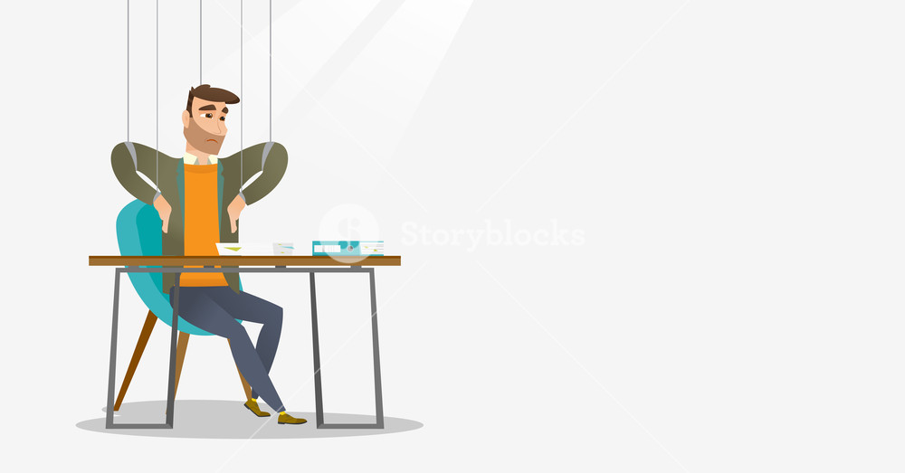 Caucasian business man hanging on strings like marionette. Business man marionette on ropes sitting in office. Emotionless marionette man working. Vector flat design illustration. Horizontal layout.