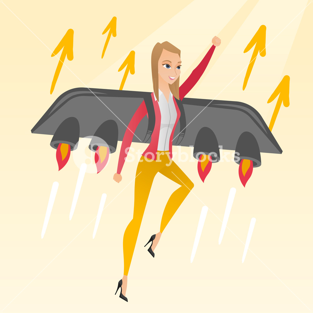 Caucasian business woman flying with a jet backpack. Young happy business woman flying on the business start up rocket. Concept of business start up. Vector flat design illustration. Square layout.