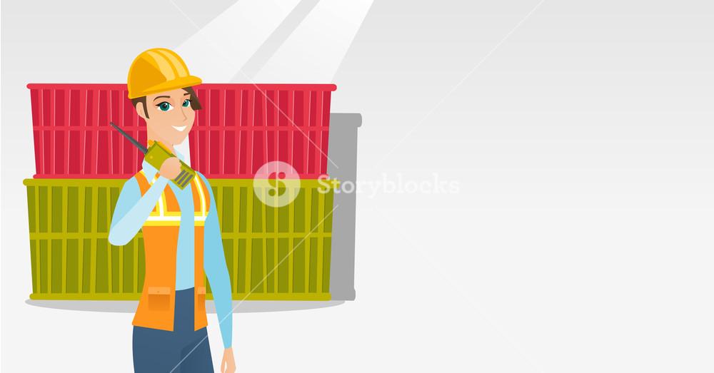 Caucasian port worker in hard hat talking on wireless radio. Port worker standing on cargo containers background. Port worker using wireless radio. Vector flat design illustration. Horizontal layout.