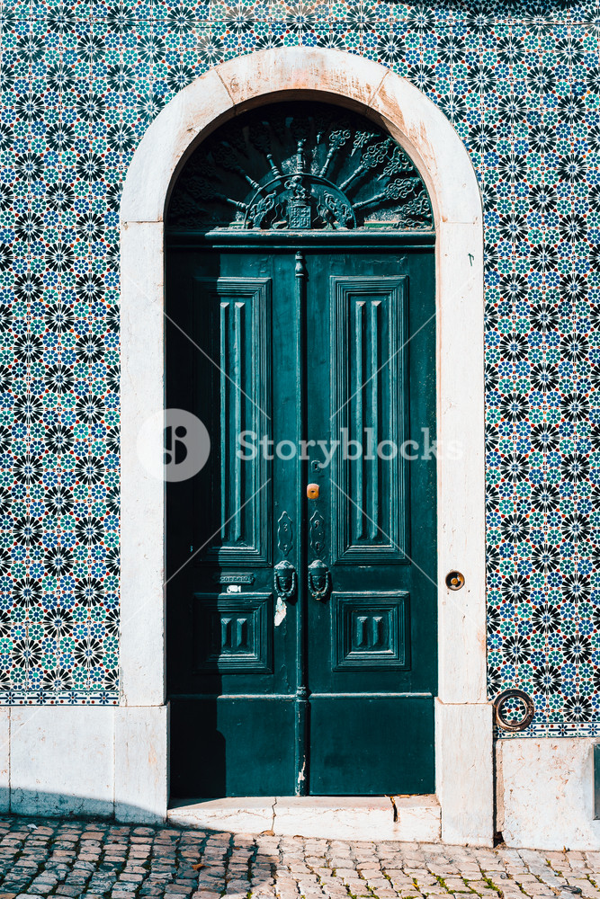 detail of portuguese architecture in Lisbon: Old tradition colorful door of the house in Lissabon, Lisboa Portugal