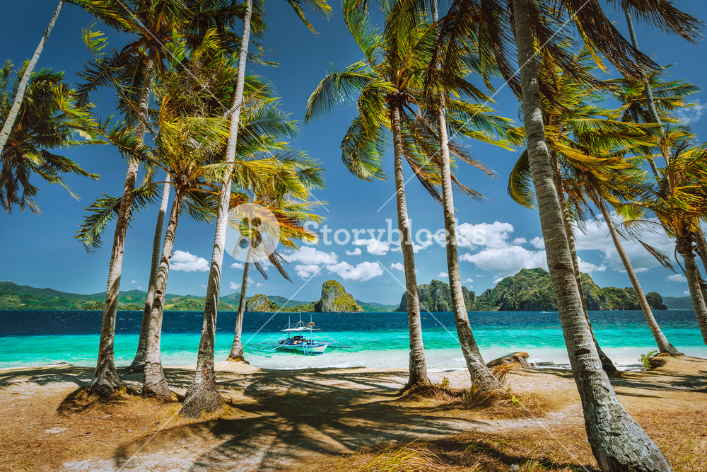 Exploring Palawan most famous touristic spots. Palm trees and lonely island hopping tour boat on Ipil beach of tropical Pinagbuyutan, Philippines