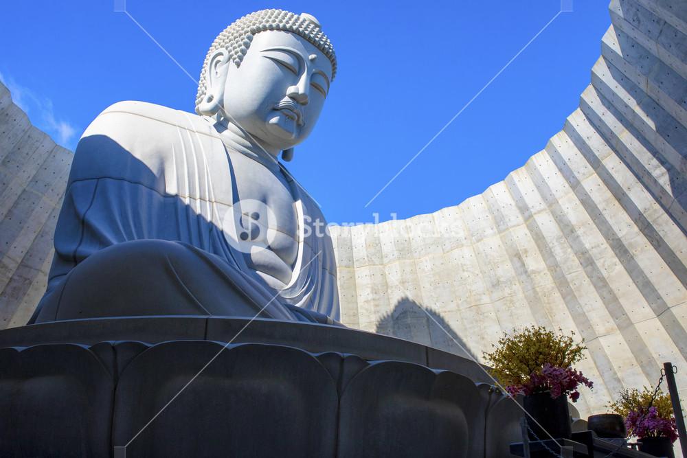 hokkaido japan - october8,2018 : japanese buddhist statue in hill of buddha sapporo hokkaido one of popular traveling destination