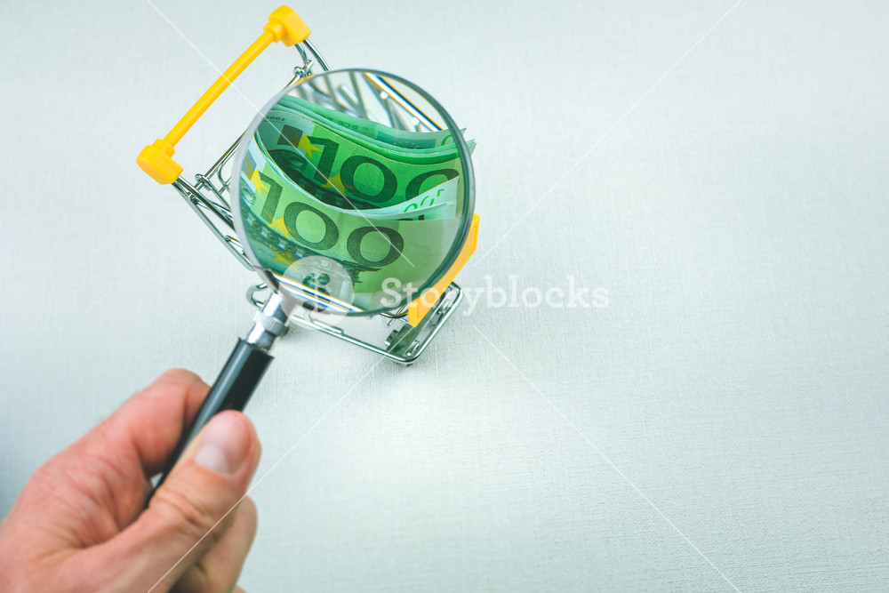 hundert euro banknotes in the shoping cart. Zoomed with magnifier