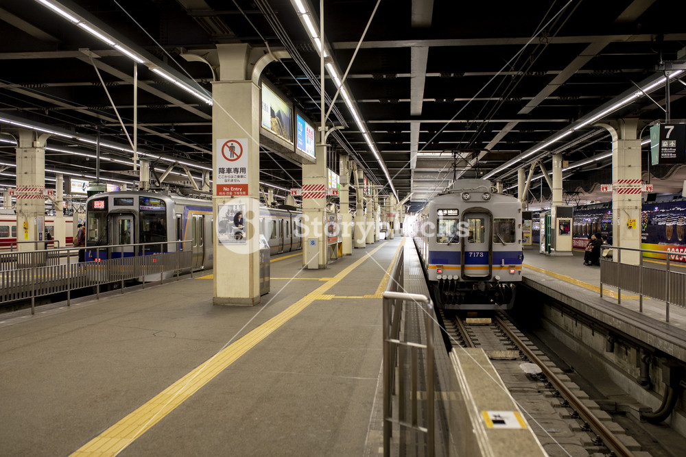 osaka japan - november5,2018 : trains approach for departure from kansai airport station to heart of osaka city japan