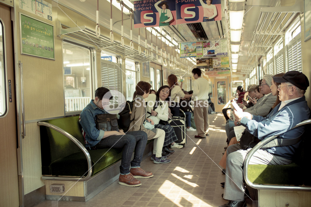 osaka japan - november5,2018 : unidentified japanese people boarding on hunkyo trains line in osaka japan