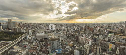 osaka japan - november6,2018 : panorama view of osaka city skyline from Shinsekai, Tsutenkaku Tower