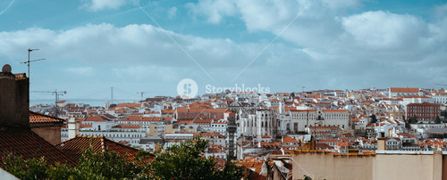 Panoramic shot of building roofs in the oldest district of Lisbon. Lisbon Lisboa Lissabon