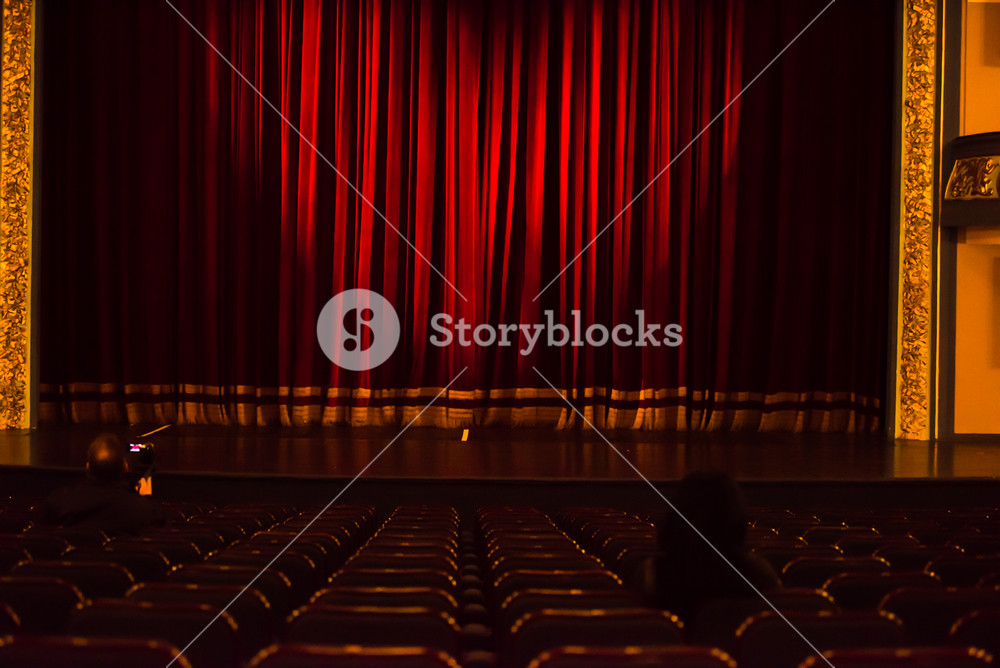 red  stage curtain background with heart symbol ligst shape