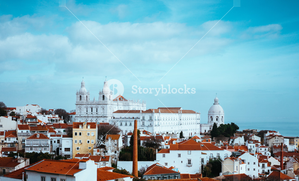 Rooftopspanorama of the oldest district Alfama in Lisbon, Portugal