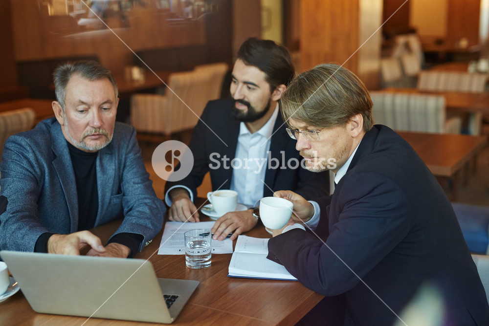 Three hard-working bearded businessmen gathered together in cozy cafe and calculating profit margins from their startup launching, waist-up portrait