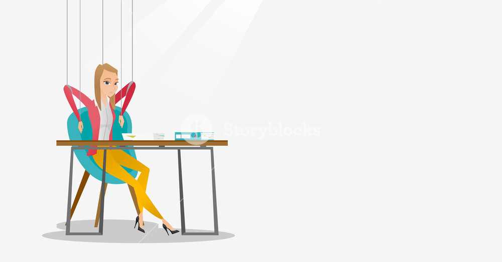 Young business woman hanging on strings like marionette. Business woman marionette on ropes sitting in office. Emotionless marionette woman working. Vector flat design illustration. Horizontal layout.