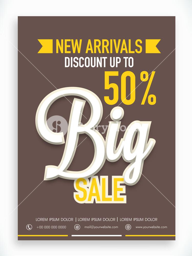 Stylish Big Sale poster banner or flyer design with fantastic discount offer on new arrivals.