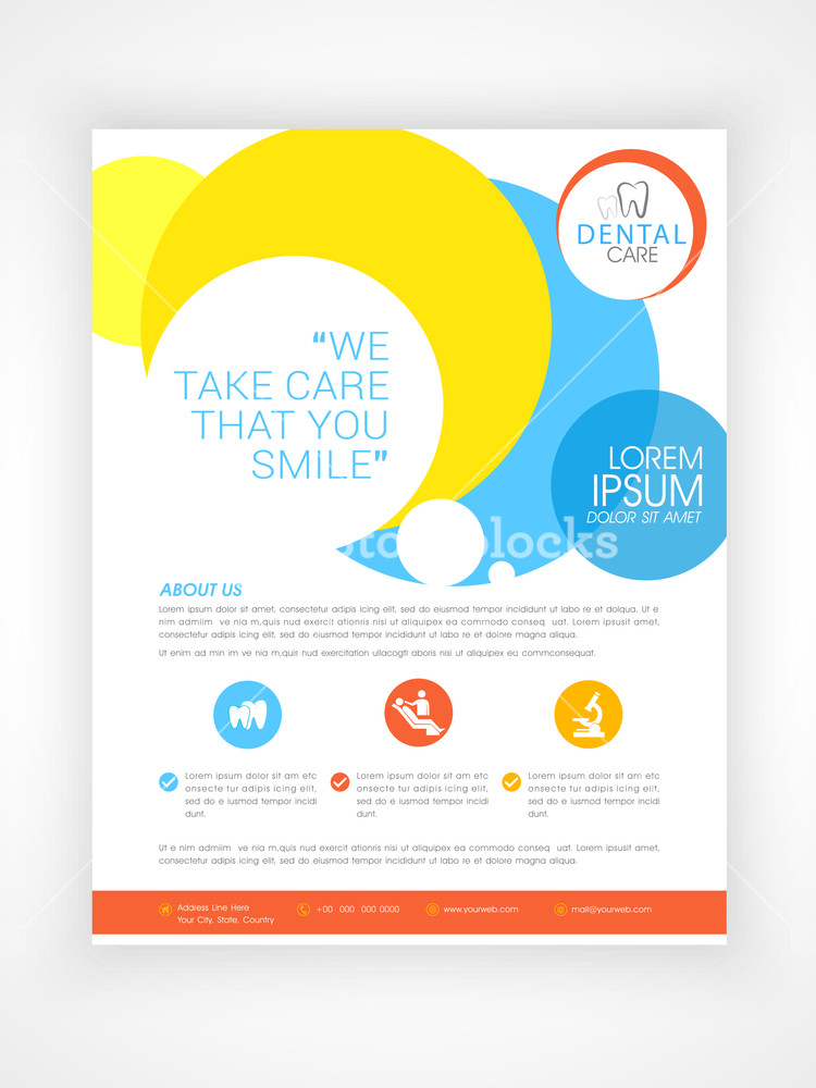 Stylish Dental Care flyer template or brochure design with medical icons and details.
