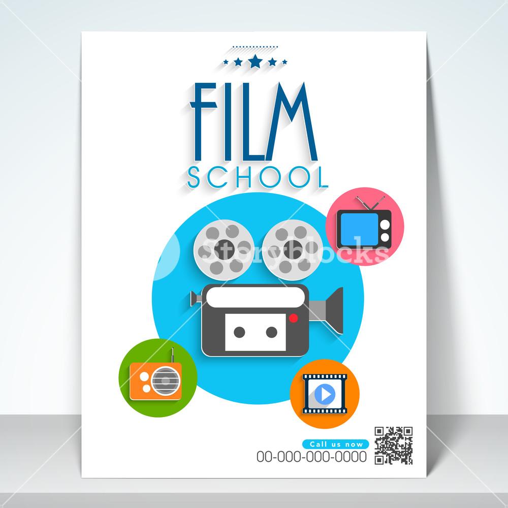 Stylish film school flyer template or banner design.