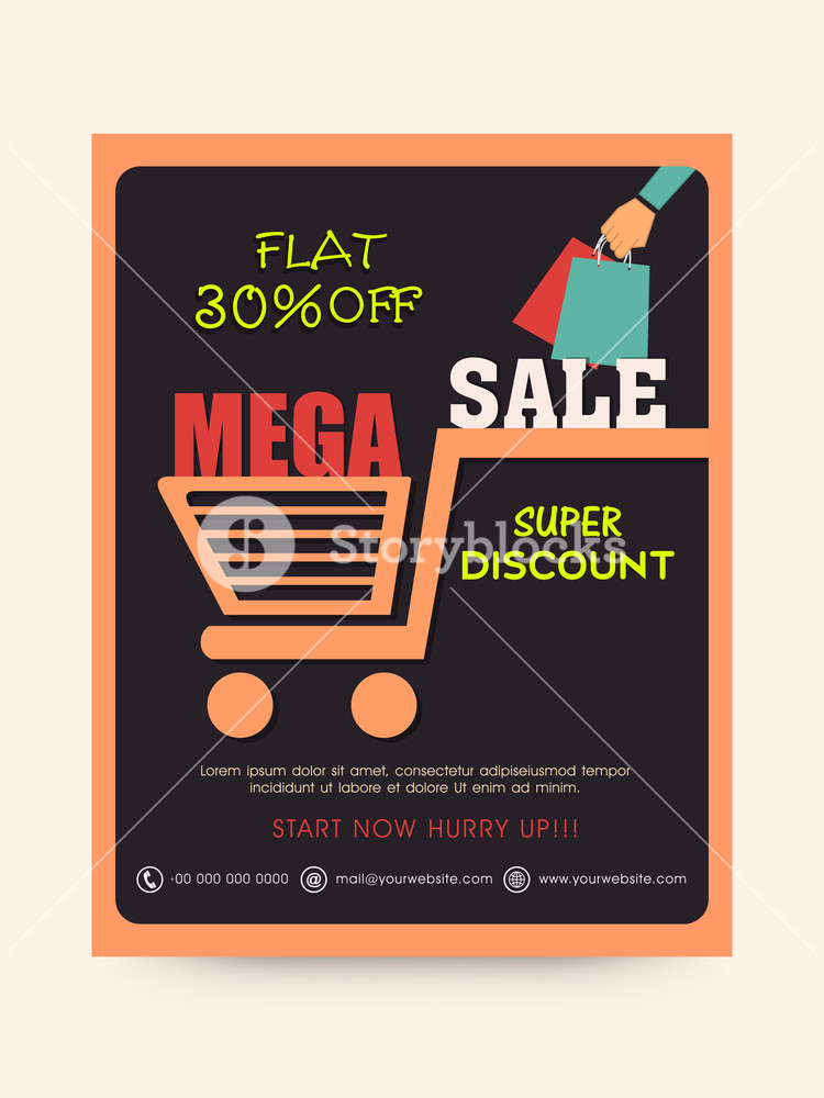 Stylish Mega Sale poster banner or flyer design with super discount offer.