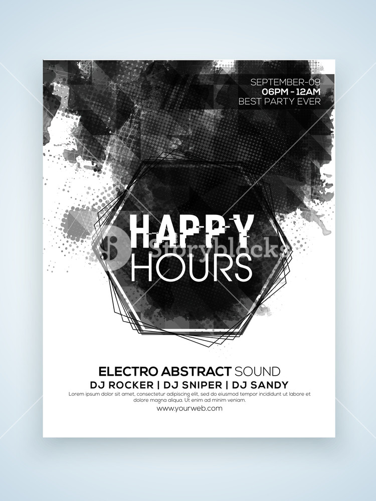 Stylish one page Flyer Banner or Template design for Happy Hours party celebration.
