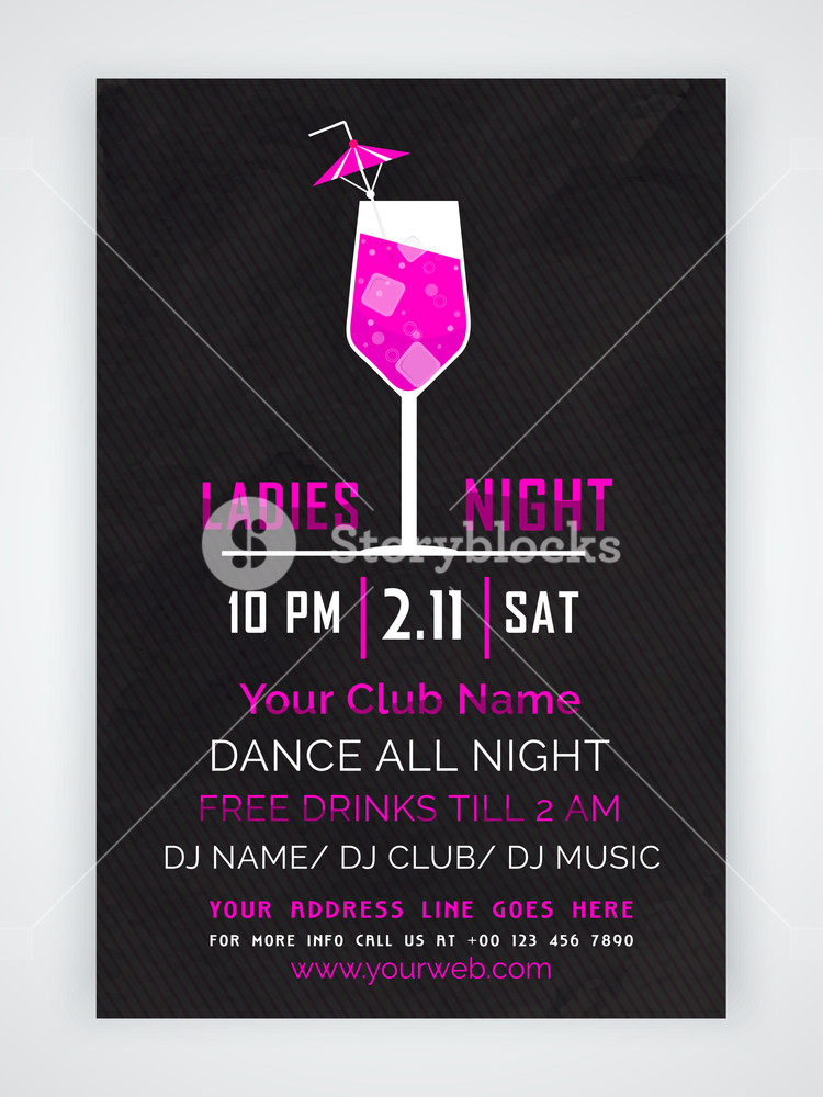 Stylish one page Flyer Banner or Template with date and time details for Ladies Night Party celebration.
