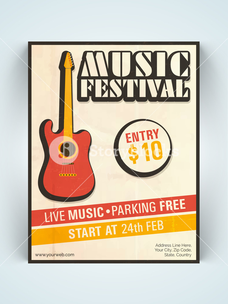 Stylish vintage one page Music Festival Flyer Banner or Template with guitar.
