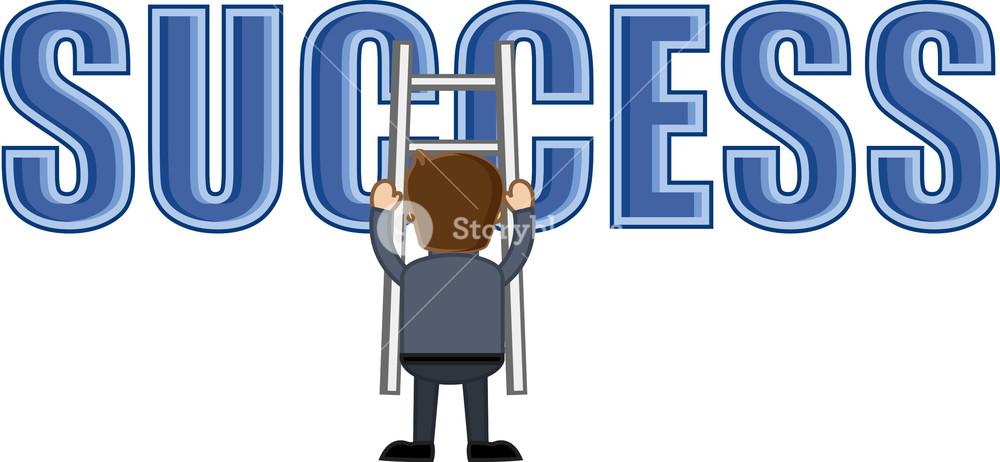 Success Ladder - Business Cartoons Vectors