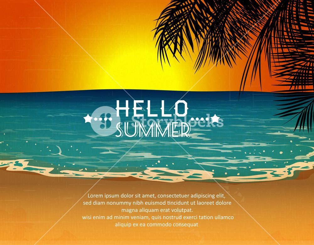 Summer Vector  Illustration With Sea, Sand, Palm Tree,