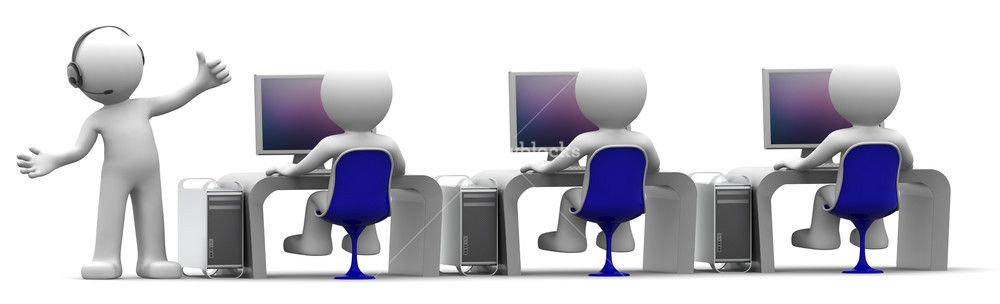 Team Of Computer Experts At Workplace. Support Centre Concept